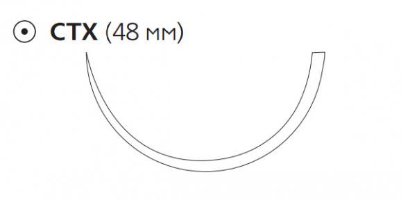 Рассасывающийся шовный материал Викрил (Vicryl) 1, длина 90см, кол. игла 48мм, 1/2 окр., фиолетовая нить (W9450) Ethicon (Этикон)