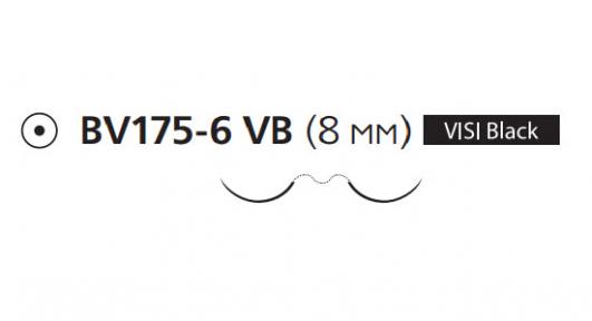 Нерассасывающийся шовный материал Пролен (Prolene) 7/0, длина 60см, 2 кол. иглы 8мм BV175 Visi Black, 3/8 окр. (8335H) Ethicon (Этикон)