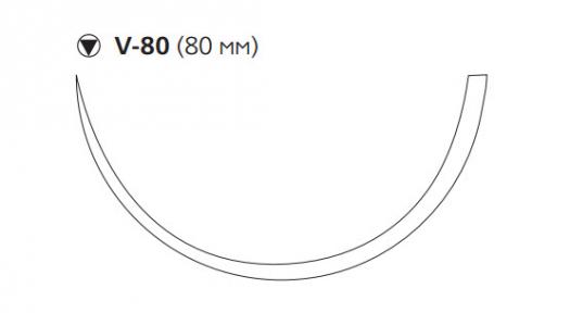 Викрил (Vicryl) 1, длина 75см, кол-реж. игла 80мм, 1/2 окр., фиолетовая нить (W9379)
