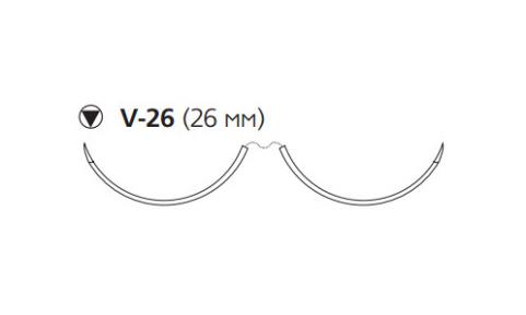 Этибонд Эксель (Ethibond Excel) 2/0, длина 90см, 2 кол-реж. иглы 26мм, 3/8 окр., зеленая нить (W6997)