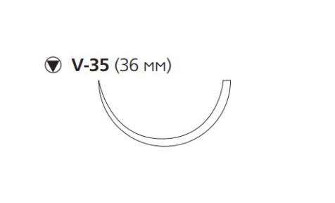 ПДС II (PDS II) 0, длина 90см, кол-реж. игла 36мм, 1/2 окр., фиолетовая нить (W9355T)