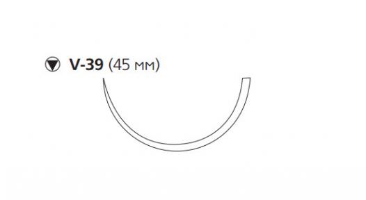 Рассасывающийся шовный материал Викрил (Vicryl) 1, длина 75см, кол-реж. игла 45мм, 1/2 окр., фиолетовая нить (W9377) Ethicon (Этикон)