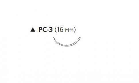 ПДС II (PDS II) 5/0, длина 70см, реж. игла 16мм, 3/8 окр., неокрашенная нить (W9733T)