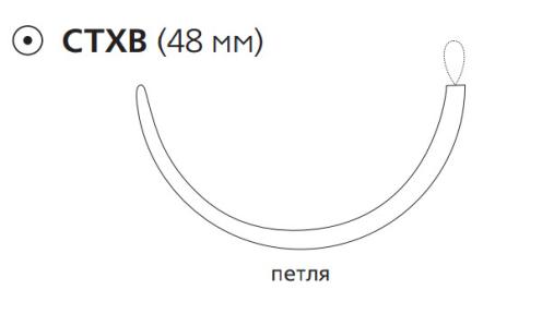 Рассасывающийся шовный материал с антибактериальным покрытием ПДС Плюс (PDS Plus) 1, длина 150см, тупоконечная игла 48мм, 1/2 окр., петля, фиолетовая нить (PDP9967T) Ethicon (Этикон)