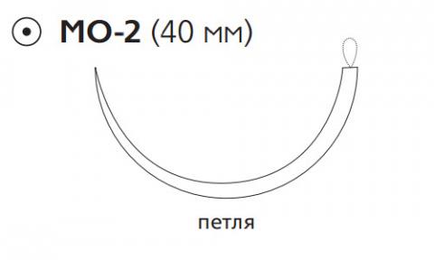 ПДС II (PDS II) 1, длина 150см, кол. игла 40мм, 1/2 окр., петля, фиолетовая нить (W9237T)