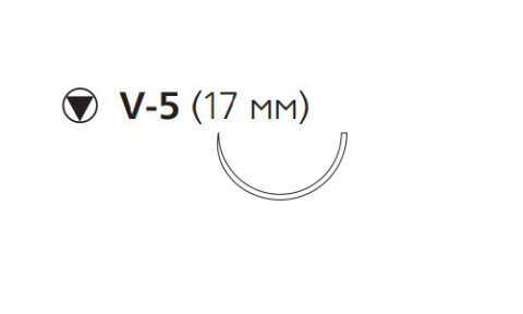 Рассасывающийся шовный материал с антибактериальным покрытием Викрил Плюс (Vicryl Plus) 0, длина 70см, кол-реж. игла 17мм, 1/2 окр., фиолетовая нить (VCP987H) Ethicon (Этикон)