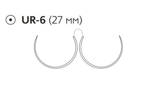 Рассасывающийся шовный материал Монокрил (Monocryl) 3/0, длина 70см, 2 кол. иглы 27мм, 5/8 окр., фиолетовая нить (W3637) Ethicon (Этикон)