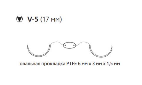 Нерассасывающийся шовный материал Этибонд Эксель (Ethibond Excel) 2/0, нить с прокладкой PTFE 4шт по 75см, 2 кол-реж. иглы 17мм, 1/2 окр., зеленая, белая нить (EH7715LG) Ethicon (Этикон)