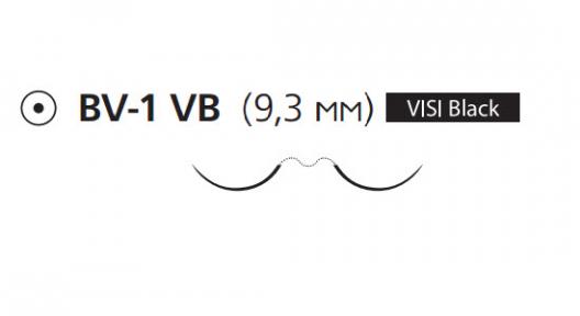 Нерассасывающийся шовный материал Пролен (Prolene) 7/0, длина 60см, 2 кол. иглы 9,3мм BV-1 Visi Black, 3/8 окр. (W8304) Ethicon (Этикон)