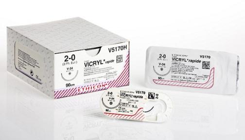 Рассасывающийся шовный материал Викрил Рапид (Vicryl Rapide) 1, 2шт по 70см, без иглы, неокрашенная нить (V8655H) Ethicon (Этикон)