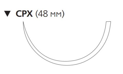 Этилон (Ethilon) 1, длина 100см, обр-реж. игла 48мм, 1/2 окр., черная нить (W738)