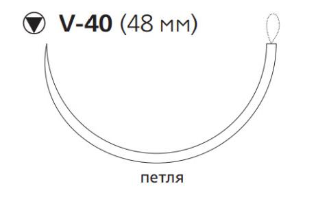 Викрил Плюс (Vicryl Plus) 1, длина 90см, кол-реж. игла 48мм VCP829E