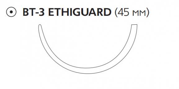 Рассасывающийся шовный материал Викрил (Vicryl) 1, длина 90см, тупоконечная игла 45мм Ethiguard, 1/2 окр., фиолетовая нить (W9998) Ethicon (Этикон)