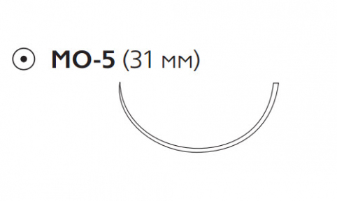 Пролен (Prolene) 0, длина 100см, кол. игла 31мм, 1/2 окр. (W8430)