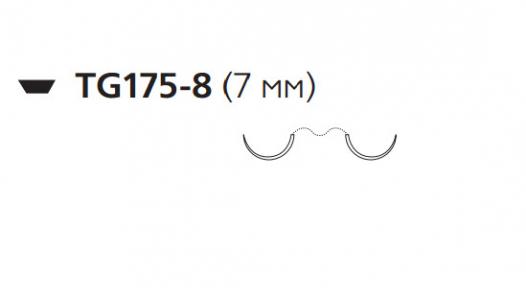 Викрил (Vicryl) 8/0, длина 30см, 2 шпательные иглы 7мм, 1/2 окр., фиолетовая нить (W9564)