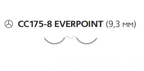 Нерассасывающийся шовный материал Пролен (Prolene) 7/0, длина 60см, 2 кол. иглы 9,3мм CC175 Everpoint, для кальцинирования сосудов, 3/8 окр. (EP8704SLH) Ethicon (Этикон)