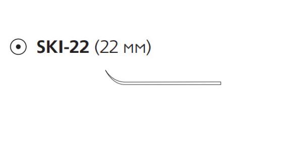 Викрил (Vicryl) 4/0, длина 20см, кол. игла 22мм, лыжеобразная, фиолетовая нить (E9904S)