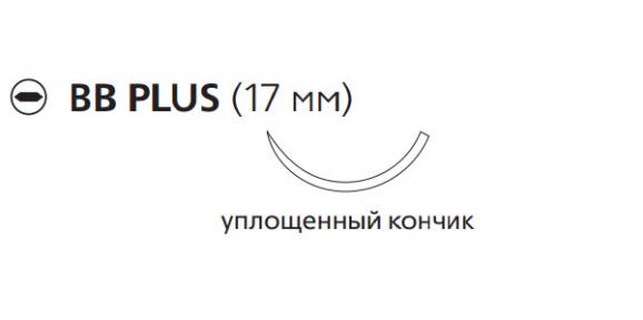 Викрил (Vicryl) 4/0, длина 45см, кол. игла 17мм W9074