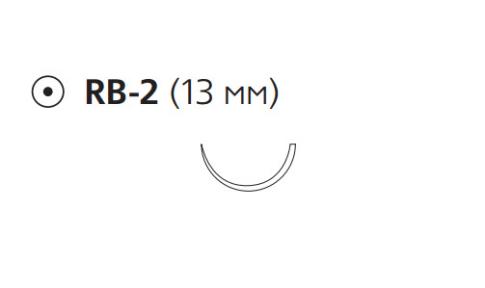 Викрил Плюс (Vicryl Plus) 5/0, длина 70см, кол. игла 13мм, 1/2 окр., неокрашенная нить (VCP433H)