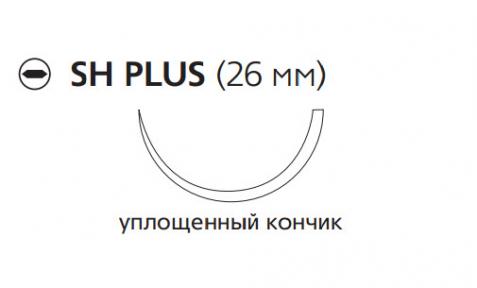 Рассасывающийся шовный материал с антибактериальным покрытием Викрил Плюс (Vicryl Plus) 3/0, длина 90см, кол. игла 26мм, 1/2 окр., уплощенный кончик, фиолетовая нить (VCP242H) Ethicon (Этикон)