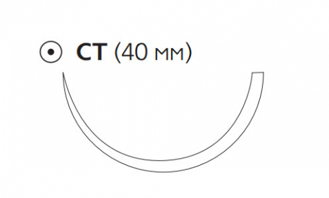 Рассасывающийся шовный материал ПДС II (PDS II) 1, длина 90см, кол. игла 40мм, 1/2 окр., фиолетовая нить (W9234T) Ethicon (Этикон)