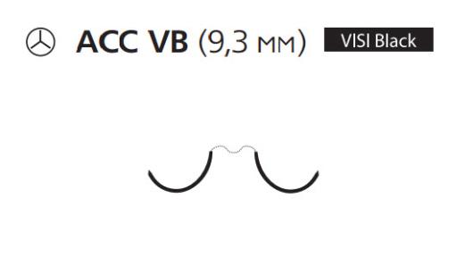 Нерассасывающийся шовный материал Пролен (Prolene) 7/0, длина 75см, 2 кол. иглы 9,3мм ACC Visi Black, сложный изгиб (MEH8024G) Ethicon (Этикон)