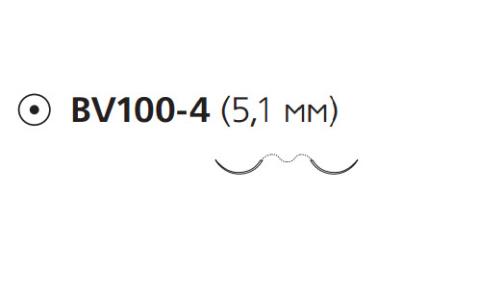 Нерассасывающийся шовный материал Пролен (Prolene) 9/0, длина 45см, 2 кол. иглы 5,1мм BV100, 3/8 окр. (F1891) Ethicon (Этикон)