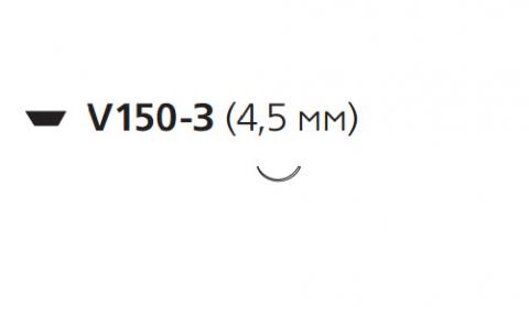 Этилон (Ethilon) 8/0, длина 13см, шпательная игла 4,5мм, 3/8 окр., черная нить (W2901)