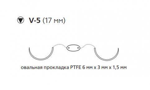 Этибонд Эксель (Ethibond Excel) 2/0, нить с прокладкой PTFE 4шт по 90см, 2 кол-реж. иглы 17мм, 1/2 окр., зеленая, белая нить (MEH7718LG)