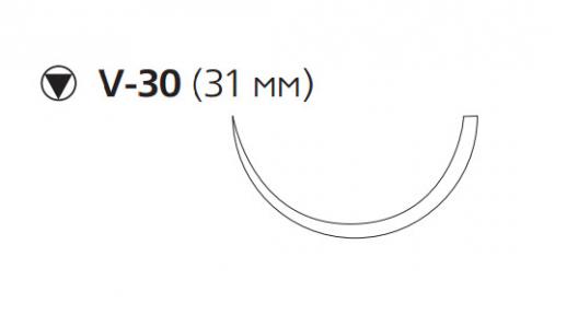 Рассасывающийся шовный материал Викрил (Vicryl) 2/0, длина 75см, кол-реж. игла 31мм, 1/2 окр., фиолетовая нить (W9360) Ethicon (Этикон)