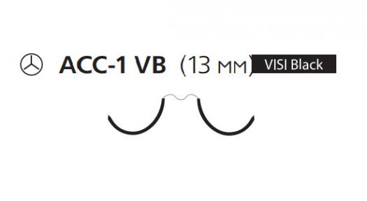 Пролен (Prolene) 6/0, длина 75см, 2 кол. иглы 13мм ACC-1 Visi Black EH8030H