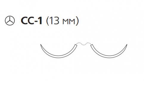 Пролен (Prolene) 6/0, длина 75см, 2 кол. иглы 13мм CC-1, для кальцинирования сосудов, 3/8 окр. (W8814)