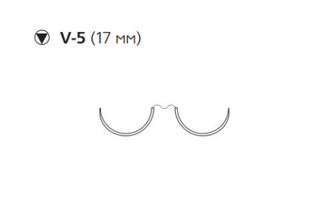 Этибонд Эксель (Ethibond Excel) 2/0, длина 90см, 2 кол-реж. иглы 17мм X807H