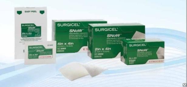 Гемостатический материал на основе целлюлозы Серджисел Сноу (Surgicel Snow), 10,2см x 10,2см (2093) Ethicon (Этикон)