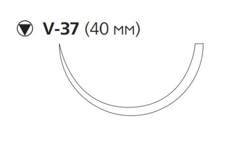Нерассасывающийся шовный материал Нуролон (Nurolon) 1, длина 100см, кол-реж. игла 40мм, 1/2 окр. (W5415) Ethicon (Этикон)