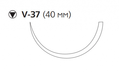 Нуролон (Nurolon) 1, длина 100см, кол-реж. игла 40мм, 1/2 окр. (W5415)