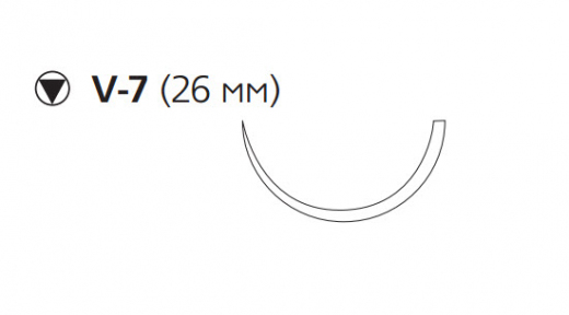 Викрил (Vicryl) 2/0, длина 75см, кол-реж. игла 26мм W9181