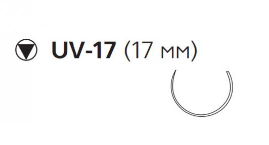 Викрил (Vicryl) 4/0, длина 75см, кол-реж. игла 17мм, 5/8 окр., неокрашенная нить (W9820)