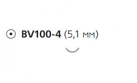 Нерассасывающийся шовный материал Этилон (Ethilon) 9/0, длина 13см, кол. игла 5,1мм BV100, 3/8 окр., черная нить (W2829) Ethicon (Этикон)