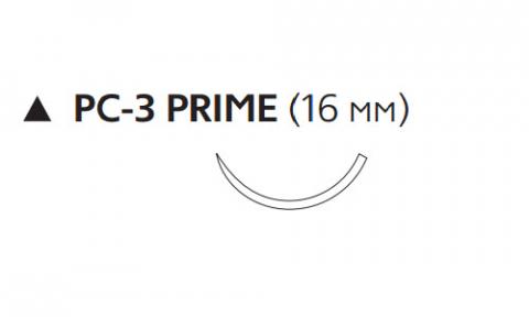 Викрил Рапид (Vicryl Rapide) 4/0, длина 75см, реж. игла 16мм Prime, 3/8 окр., неокрашенная нить (W9918)