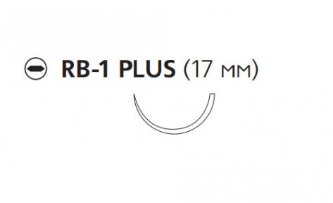 Викрил Плюс (Vicryl Plus) 4/0, длина 70см, кол. игла 17мм, 1/2 окр., неокрашенная нить (VCP214H)