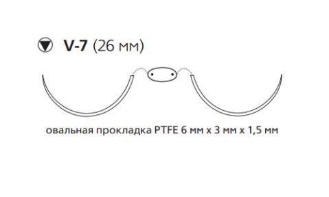 Нерассасывающийся шовный материал Этибонд Эксель (Ethibond Excel) 2/0, нить с прокладкой PTFE 4шт по 75см, 2 кол-реж. иглы 26мм, 1/2 окр., зеленая, белая нить (EH7716LG) Ethicon (Этикон)
