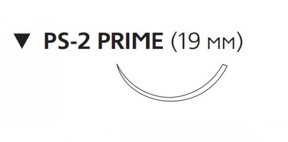 Монокрил (Monocryl) 3/0, длина 45см, обр-реж. игла 19мм Prime, 3/8 окр., неокрашенная нить (W3207)