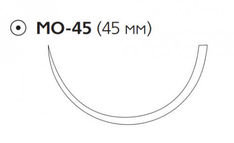 Рассасывающийся шовный материал Монокрил (Monocryl) 1, длина 90см, кол. игла 45мм, 1/2 окр., фиолетовая нить (W3727) Ethicon (Этикон)