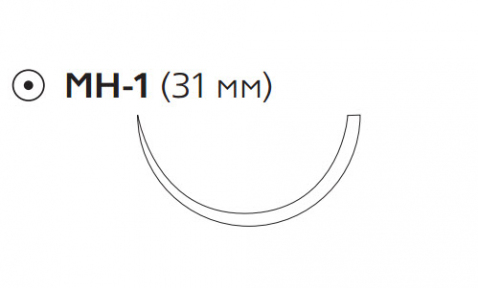 Рассасывающийся шовный материал ПДС II (PDS II) 1, длина 70см, кол. игла 31мм, 1/2 окр., фиолетовая нить (W9211H) Ethicon (Этикон)