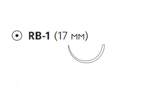 Рассасывающийся шовный материал Монокрил (Monocryl) 4/0, длина 70см, кол. игла 17мм, 1/2 окр., фиолетовая нить (W3435) Ethicon (Этикон)