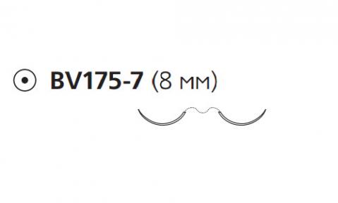 Нерассасывающийся шовный материал Пролен (Prolene) 7/0, длина 60см, 2 кол. иглы 8мм BV175, 3/8 окр. (8766H) Ethicon (Этикон)