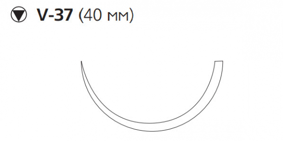 Викрил (Vicryl) 1, длина 75см, кол-реж. игла 40мм, 1/2 окр., неокрашенная нить (W9906)
