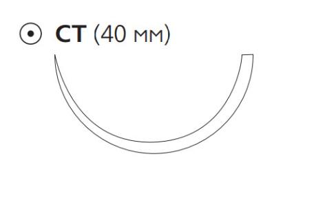 Рассасывающийся шовный материал с антибактериальным покрытием ПДС Плюс (PDS Plus) 1, длина 90см, кол. игла 40мм, 1/2 окр., фиолетовая нить (PDP9234H) Ethicon (Этикон)