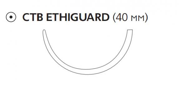 Рассасывающийся шовный материал Викрил (Vicryl) 1, длина 75см, тупоконечная игла 40мм Ethiguard, 1/2 окр., фиолетовая нить (W9989) Ethicon (Этикон)